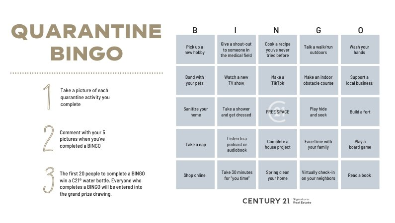 C21 Giveaway: Play Quarantine Bingo for Your Chance to Win!
